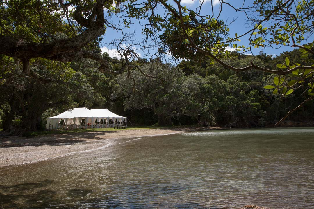Marque at the water's edge